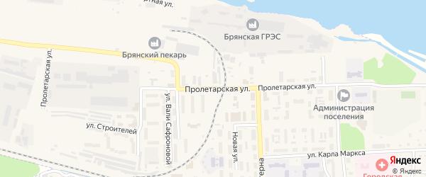 Пролетарская улица на карте поселка Белые Берега с номерами домов