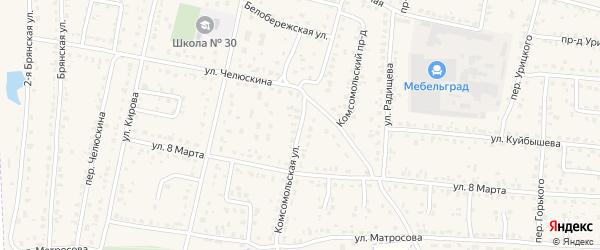 Комсомольская улица на карте поселка Белые Берега с номерами домов