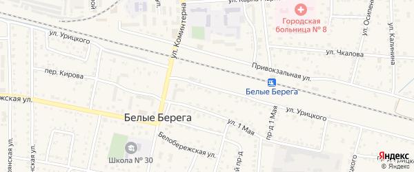 Улица Урицкого на карте поселка Белые Берега с номерами домов