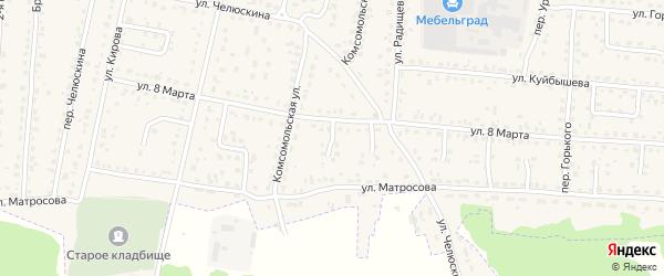 Проезд 1-й 8 Марта на карте поселка Белые Берега с номерами домов