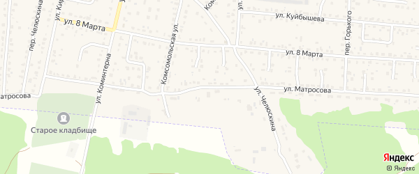 Улица Матросова на карте поселка Белые Берега с номерами домов