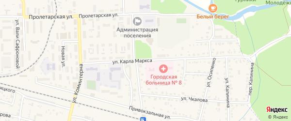 Улица Карла Маркса на карте поселка Белые Берега с номерами домов