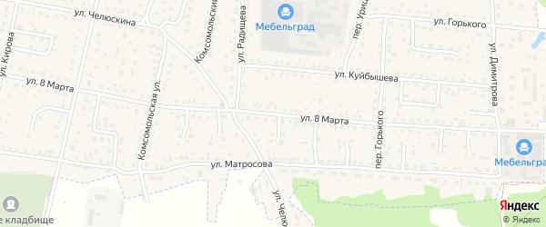 Улица 8 Марта на карте поселка Белые Берега с номерами домов