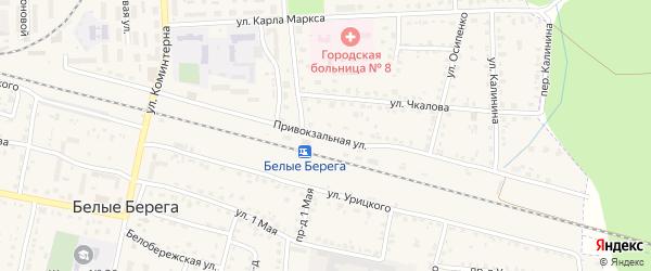 Привокзальная улица на карте поселка Белые Берега с номерами домов