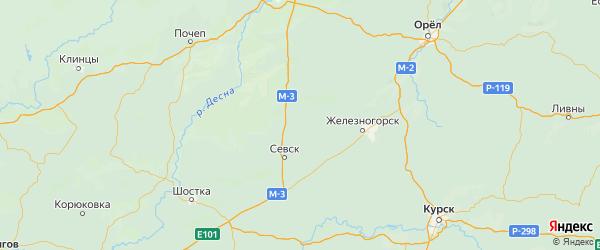 Карта Комаричского района Брянской области с городами и населенными пунктами