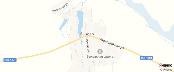 Карта села Быхово в Брянской области с улицами и номерами домов