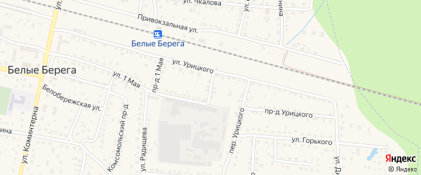 Переулок 1 Мая на карте поселка Белые Берега с номерами домов