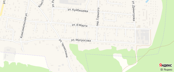 Проезд 1-й Матросова на карте поселка Белые Берега с номерами домов