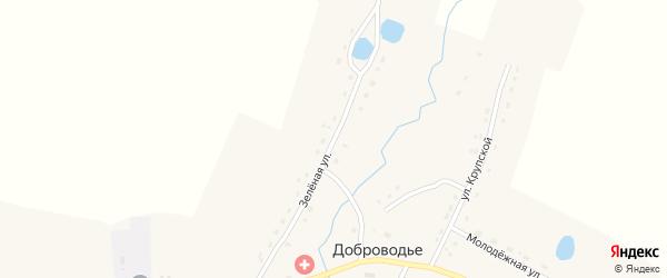 Зеленая улица на карте села Доброводья с номерами домов
