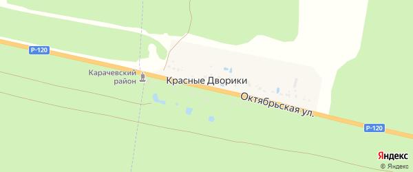 Октябрьская улица на карте поселка Красные Дворики с номерами домов