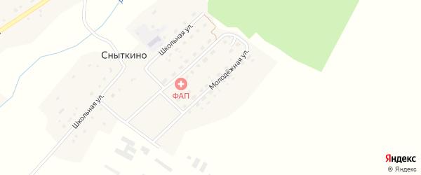 Молодежная улица на карте деревни Сныткино с номерами домов