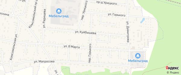 Переулок Горького на карте поселка Белые Берега с номерами домов