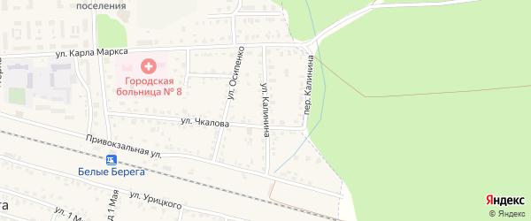 Улица Калинина на карте поселка Белые Берега с номерами домов