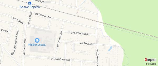 Проезд Урицкого на карте поселка Белые Берега с номерами домов