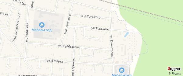 Проезд Горького на карте поселка Белые Берега с номерами домов