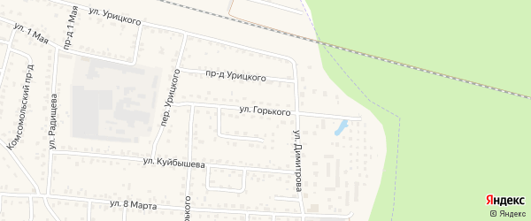 Улица Горького на карте поселка Белые Берега с номерами домов