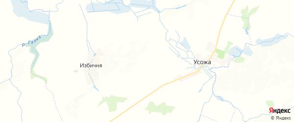 Карта территории Усожского сельского поселения Брянской области с районами, улицами и номерами домов