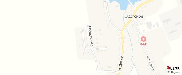 Молодежная улица на карте деревни Осотского с номерами домов