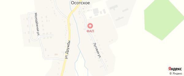 Луговая улица на карте деревни Осотского с номерами домов