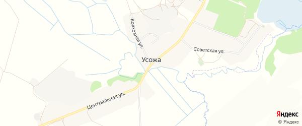 Карта железнодорожного разъезда Усожи в Брянской области с улицами и номерами домов