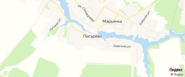 Карта деревни Пигарево в Брянской области с улицами и номерами домов