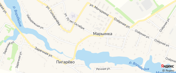 Набережная улица на карте поселка Марьинки с номерами домов