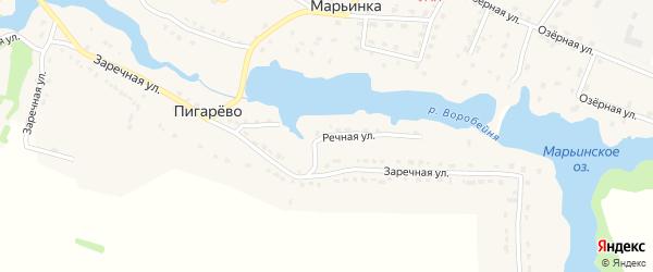 Речная улица на карте деревни Пигарево с номерами домов