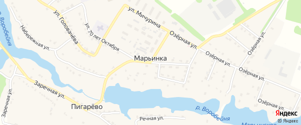 Заводская улица на карте поселка Марьинки с номерами домов
