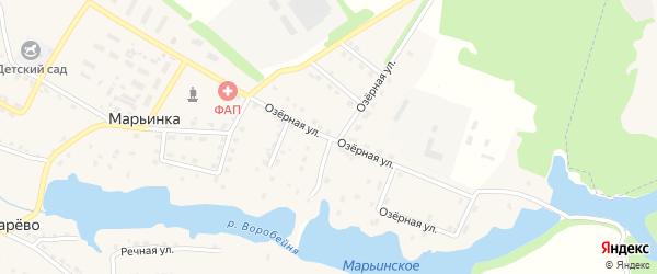 Озерная улица на карте поселка Марьинки с номерами домов