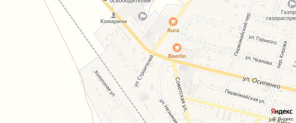 Улица Строителей на карте поселка Комаричей с номерами домов