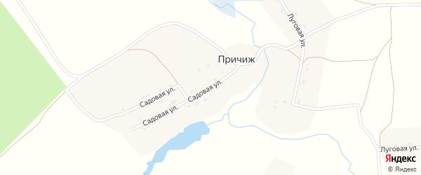 Садовая улица на карте деревни Причижа с номерами домов