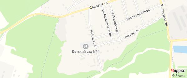 Рабочая улица на карте поселка Комаричей с номерами домов