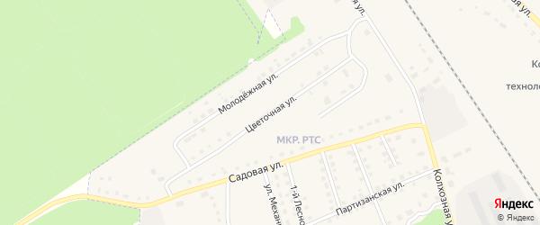 Цветочная улица на карте поселка Комаричей с номерами домов