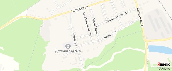 Переулок Механизаторов на карте поселка Комаричей с номерами домов