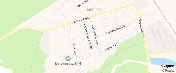 Улица Механизаторов на карте поселка Комаричей с номерами домов