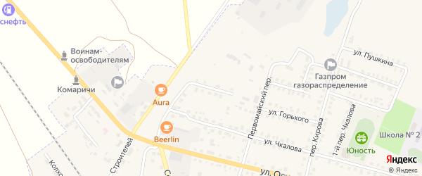 Переулок 2-й Чкалова на карте поселка Комаричей с номерами домов