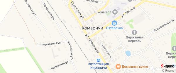 Улица Незымаева на карте поселка Комаричей с номерами домов