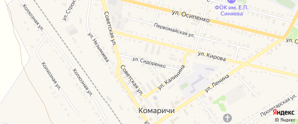 Улица Сидоренко на карте поселка Комаричей с номерами домов