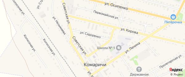 Переулок 1-й Ленина на карте поселка Комаричей с номерами домов