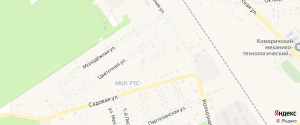 Цветочный переулок на карте поселка Комаричей с номерами домов