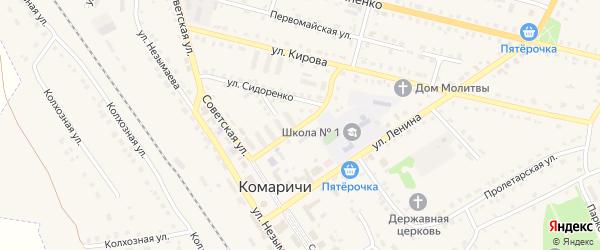 Улица Калинина на карте поселка Комаричей с номерами домов
