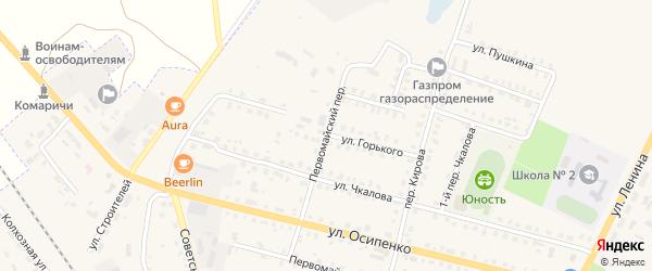 Первомайский переулок на карте поселка Комаричей с номерами домов
