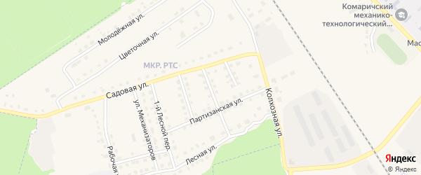 Партизанский переулок на карте поселка Комаричей с номерами домов