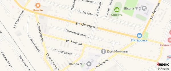Первомайская улица на карте поселка Комаричей с номерами домов