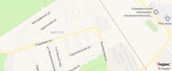 2-й Лесной переулок на карте поселка Комаричей с номерами домов