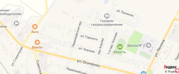 Улица Горького на карте поселка Комаричей с номерами домов