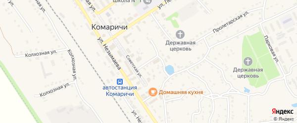 Пролетарский переулок на карте поселка Комаричей с номерами домов