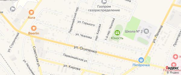 Улица Чкалова на карте поселка Комаричей с номерами домов