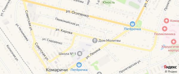 Улица Кирова на карте поселка Комаричей с номерами домов