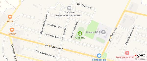Переулок 1-й Чкалова на карте поселка Комаричей с номерами домов